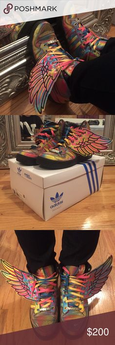 jeremy scott adidas rainbow hologram sneakers 10 SUPER RARE jeremy scott adidas originals wings sneakers. rainbow hologram iridescent shoes. back to the future style. cyber punk. size men's 10. pre owned. taken care of. comes with box! Jeremy Scott x Adidas Shoes Sneakers