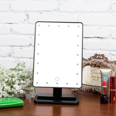 Portable Vanity Mirror With Lights Best Ovonni 10X Magnifier Led Touch Screen Makeup Mirror Portable 20 Leds Decorating Design