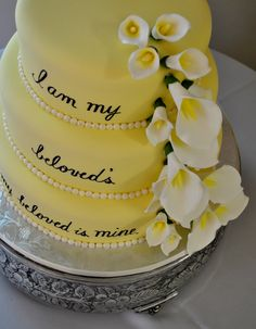 I am my beloved's and my beloved is mine. That is what the bride's purity ring said so they put it on their cake! cute!! :) Shockley's Sweet Shoppe