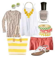 summer colors by htotheb on Polyvore featuring Mossimo, Wallis, Kendra Scott, Fornash, Deborah Lippmann, coral, green, tan, horizontal stripes and yellow