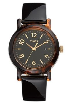 tortoise shell and black watch. a timeless accessory.