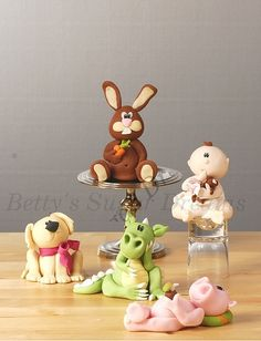 Animals : Dog, dragon, pig, baby, bunny cake toppers by betty's sugar dreams