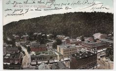 Antique Arkansas Postcard Birds Eye View of Hot Springs AR Downtown 1910 Message