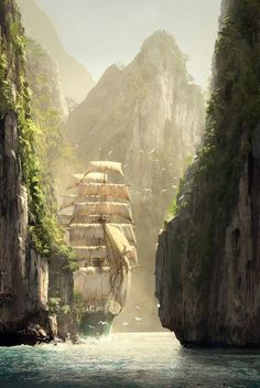 Creed IV Black Flag Concept Art by Raphael Lacoste Assassin's Creed IV Black Flag Concept Art by Raphael Lacoste. Damn this is beautiful.Assassin's Creed IV Black Flag Concept Art by Raphael Lacoste. Damn this is beautiful. Fantasy Places, Fantasy World, Old Sailing Ships, Environment Design, Fantasy Landscape, Landscape Art, Tall Ships, Cool Art, Concept Art
