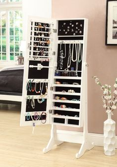 Amazon.com - White Mirrored Jewelry Cabinet Armoire W Stand Mirror Rings, Necklaces, Bracelets - Free Standing Cabinets