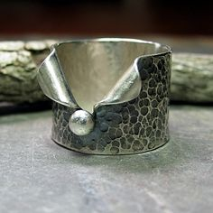 Hammered Sterling Silver Wide Band Ring - Pebble Road.  ...from Lavender Cottage on Etsy