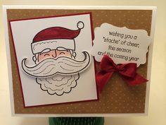 The Stamp Therapists: Stampin' Up! Demonstrator Gathering Project.  Stampin' Up!'s Santa Stache stamp set, Blender Pens, Mustache Framelit, Cherry Cobbler Seam Binding, Decorative Label Punch.  www.stampwithjennifer.blogspot.com