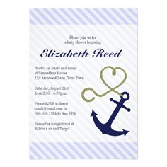Cute Nautical Baby Shower Anchor with Heart Rope Invitation