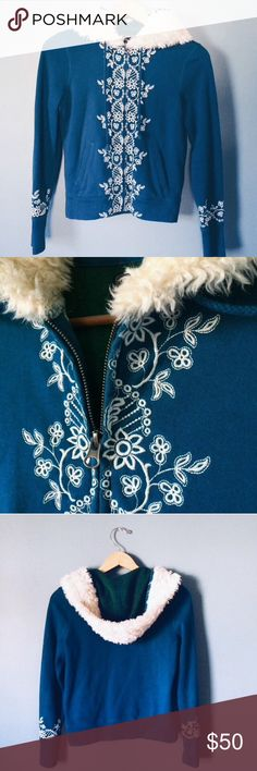 Embroidered Lined Jacket A Lucky Brand Original, one of the most unique items I've seen from them and one of the softest items I own. The vibrant blue green is DEFINITELY and eye catcher especially during the snow season ☃❄️ embroidered on the elongated sleeves and running up the middle to meet w a faux fur hoodie this jacket had been a dream to me for many years. Mint Condition. Lucky Brand Jackets & Coats