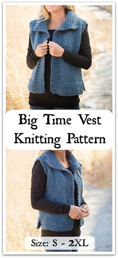 You'll hit the big time with this vest! This ultra cozy vest is not only truly versatile and great for year-round wear, it's simple and a joy to knit! Downloadable PDF pattern #ad #affiliate #knitting #pattern