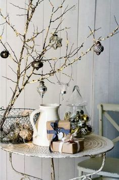 Ornament Decorated Branches For Corner Table Decoration