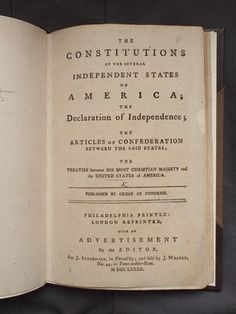 From the British Library's Americas Studies blog post 'The Constitution 225 Years Later' (20 June 2013). Image: The Constitutions of the Several Independent States of America, London, 1782.