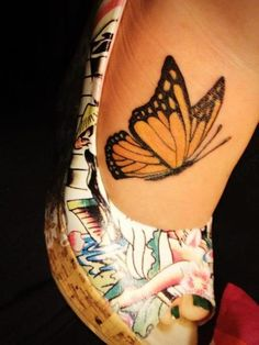 monarch butterfly foot tattoo. Monarchs always remind me of my dad.
