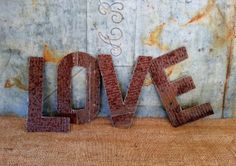 Old Tin Letters LOVE Rusty Hand Cut Rustic Wedding by AnvilDesigns, $20.00