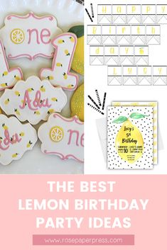 The best ideas for hosting a Lemon Birthday Party for kids. Lemonade Birthday Party ideas including invitations, cookies, outfits, and decorations. Kids Birthday Themes, Birthday Banners, Birthday Invitations Kids, 2nd Birthday Parties, Boy Birthday, 1st Birthdays, Holiday Cards, Party Planning, Balloons