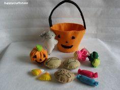 felt halloween bag & candy