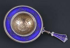 Gustav Gaudernack for David Andersen. Enamelled silver tea strainer. ca 1900-1910
