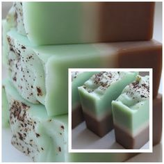 Mint Chocolate soap: Top Peppermint essential oil & green chrome oxide, titanium dioxide, coco Butter, coco powder
