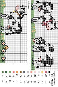 cenefas vacas Cross Stitch Cow, Cross Stitch Kitchen, Cross Stitch For Kids, Cross Stitch Bookmarks, Cross Stitch Books, Cross Stitch Borders, Cross Stitch Animals, Cross Stitch Charts, Cross Stitch Designs