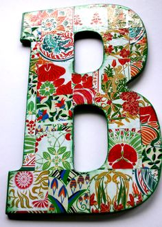 "Large decoupage wood letter 'B', Collaged Letter 10.5"" tall, Home Decor letter 'B', Collaged wall hanging letter, Wood Letter."