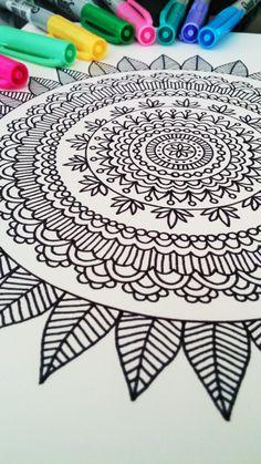 Mandala Coloring Book Adult Mehndi Henna Printable PDF 20 Pages by Katie N. Mandala Doodle, Mandala Drawing, Mandala Print, Doodle Patterns, Zentangle Patterns, Zentangles, Doodle Drawings, Doodle Art, Drawing Sketches