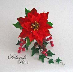 Red poinsettia arrangement - Cake by Sugared Inspirations by Debbie