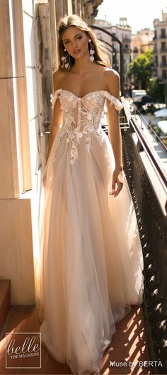berta fall 2019 muse bridal off the shoulder sweetheart neckline heavily embellished bodice bustier tulle skirt romantic blush a line wedding dress 5 lv - MUSE by Berta 2019 Barcelona Wedding Dresses Wedding Inspirasi Wedding Dress Tea Length, Dream Wedding Dresses, Bridal Dresses, Wedding Dresses Berta, Wedding Dress Corset, Dresses Dresses, Dress Lace, Pink Wedding Gowns, Off Shoulder Wedding Dress