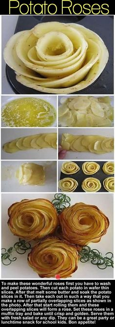 To make these wonderful roses first you have to wash and peel potatoes. Then cut each potato in wafer thin slices. After that melt some butter and soak the potato slices in it. Then take each out in such a way that you make a row of partially overlapping slices as shown in the photo. After that start rolling them and these overlapping slices will form a rose. Set these roses in a muffin tray and bake until crisp and golden. Serve them with fresh salad or any dip.