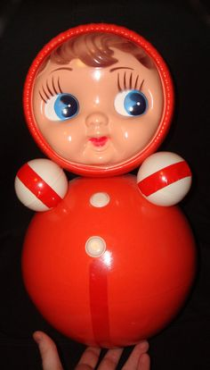 Old Russian Nevalyashka Celluloid Plastic Roly Poly Musical Ding Toy Doll USSR #Unknown