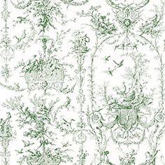 Thibaut Toile Portfolio - Rockwood Toile - Fabric - Green on White