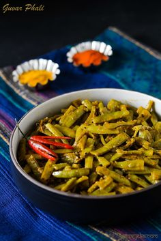Rajasthani style gauvar phali ki sabzi cooked with yogurt and indian spices