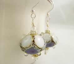 Purple and White Lampwork Glass Earrings by StudioCKH on Etsy, $37.00