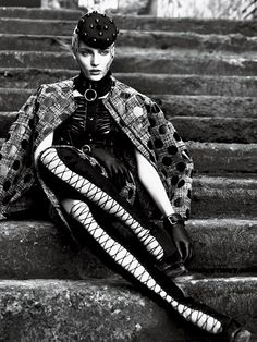 Emily Baker in Alexander McQueen Thigh High Boots. Interview Magazine, 09.2011