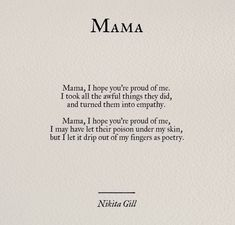 nikita_gill – Anna Kirchner – - Beste Just Luxus Nikita Gill, Poem Quotes, Words Quotes, Life Quotes, Mama Quotes, Qoutes, Guilt Quotes, New Mom Quotes, Life Poems