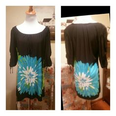 GORGEOUS DRESS BY RONNI NICOLE Size 12 mini dress ....see pics for details and material info....measures approx from shoulder to hem...31 in...black with turquoise and green Ronni Nicole  Dresses Mini