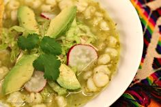 This green pozole with chicken recipe is exactly like we made it at home in Mexico when I was growing up. A delightful combination of chicken, tomatillos, cilantro, garlic & spices. Photos and step by step instructions included. Mexican Cooking, Mexican Food Recipes, Soup Recipes, Chicken Recipes, Cooking Recipes, Healthy Recipes, Green Chicken Pozole Recipe, Dinner Recipes, Mexican Desserts
