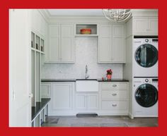 Large Transitional L Shaped Dedicated Laundry Room Idea In...