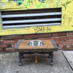 Industrial Dog Feeder, Dog Bowl, Pet Feeder, Pet Supplies, Pet Feeding, Elevated Dog Bowl, Raised Dog Bowl, Pipe Furniture, Industrial Style by TheCleverRaven on Etsy https://www.etsy.com/listing/473446921/industrial-dog-feeder-dog-bowl-pet