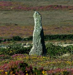 Boswens Menhir - a standing stone near St. Just in West Penwith, Cornwall, England;  possibly associated with the nearby Tregeseal stone circle. Visible from Tregeseal stone circle, and not far from Chun Quoit, Boswens Menhir stands in the middle of a cairn that has been severely pillaged during the past two centuries and is now only just discernible.