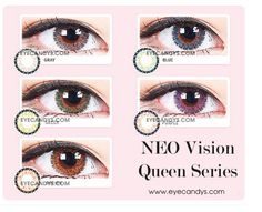 NEO Vision Queen cosmetic lenses offer rich colors with the signature dashed limbal ring to provide natural enlargement without any harsh edge.Shop now with free shipping! #eyecandys #queen #NEO #coloredlenses #kawaii