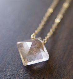 SALE Pyramid Rutilated Quartz Gold Necklace by friedasophie
