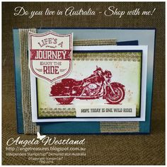 Click on the picture to see more of Angela's Projects. #stampinup #handmadecards #@Stampinupangelawestland #onewildride #addingdimension #sponging #burlapribbon #joinmyteam #shopwithme #motorcycle #journey