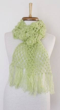 Light Green Daisy ScarfReady For Shipping by knittingshop on Etsy, $32.00