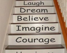 🌟Tante S!fr@ loves this📌🌟Inspirational Stair Riser Decals Stair Stickers Wall by nanmadetoo Staircase Decals, Staircase Design, Painted Stair Risers, Gym Room At Home, Dream Home Gym, Stair Stickers, 3d Home, Stair Steps, Blue Pottery