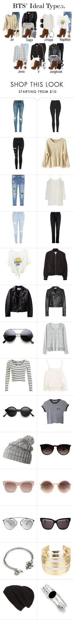 """""""BTS' ideal type wearing Whiskey Lace Up Ankle Boots"""" by triple-threat36 ❤ liked on Polyvore featuring Topshop, River Island, Current/Elliott, MANGO, Yves Saint Laurent, Rebecca Taylor, Miss Selfridge, Swell, Helly Hansen and Ray-Ban"""