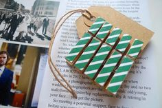 5 small wooden clothes pegs, green and white stripes. £2.50, via Etsy.