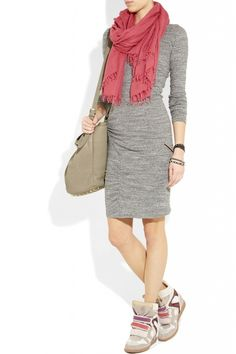 Isabel Marant Sneaker- paired with neutral dress- color block #wedges