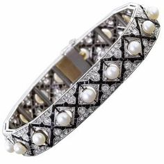 Art Deco Onyx Diamond and Pearl Bracelet