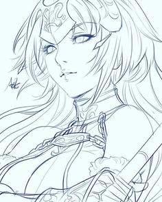 Jeanne d'Arc in class sketch from Fate as requested by one of my students. Manga Drawing, Drawing Sketches, Art Drawings, Anime Lineart, Character Art, Character Design, Art Poses, Animes Wallpapers, Colouring Pages