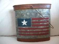 Primitive Prim Americana Country Patriotic Waffled Tin Rusty Bucket Flag Design